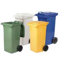 Bidoni quadri Lt. 240 con ruote per rifiuti - Verde